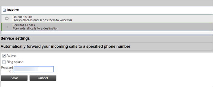 Forwarding all calls to a specific number