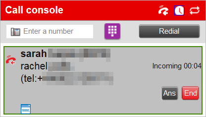Image showing call console with a transfered call ongoing.
